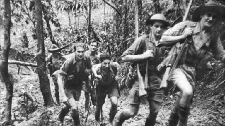 Diggers on the Kokoda Track, including George Palmer of the 39th Battalion, second from the right.