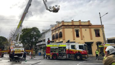 NSW Fire and Rescue attend the fire in Surry Hills on Thursday.