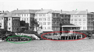 This 1930 photograph of Brisbane's Queen's Wharf area shows the original King's Wharf (1824) in the green circle. It became known as Queen's Wharf when Queen Victoria assumed the throne. The red circle shows a larger timber wharf, (built post 1870) which was still there before the Riverside Expressway was built in the 1970s.