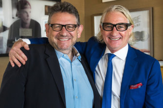 INXS manager Chris Murphy, right, with Universal Music Group boss Sir Lucian Grainge.
