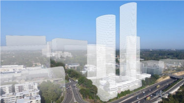 The original plan from property group Meriton that included a 63-storey tower was rejected by Ryde Council. The latest plans are for a 42-storey tower.