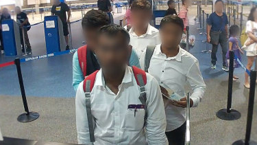 The 'fake' Indian journalists arriving at Brisbane Airport on Wednesday.