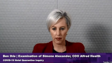 Alfred Health chief operating officer Simone Alexander tells the inquiry the health service noticed a significant difference in contact tracing and offered to take it over.