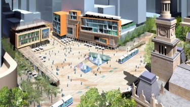 An artists' impression of the proposed Town Hall Square, for which the City of Sydney has been slowly acquiring properties.