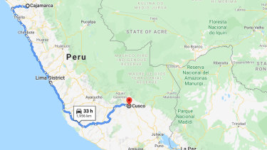 The city of Cajamarca in Peru is about 850 kilometres from the capital, Lima, and 2000 kilometres from the tourist hub of Cusco.