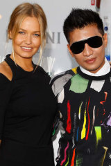 With Lara Worthington (nee Bingle) at 2013 Mercedes-Benz Fashion Week Australia.