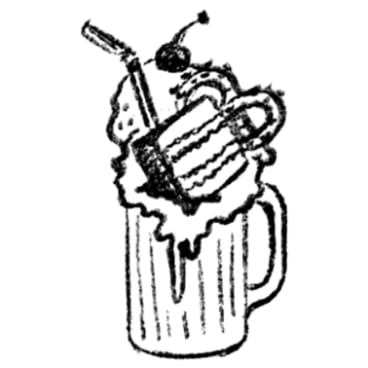 A freak shake, as illustrated by Juliette Dudley, was one of the items Sean Costello was asked to craft a capital yarn around.