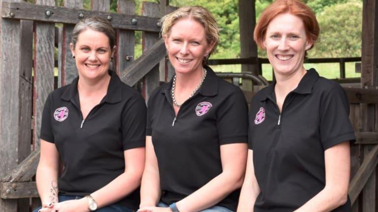 The Daughters of Dairy Farmers team: Rachel Rohan, Joanne Mollinger and Lisa Harrison.