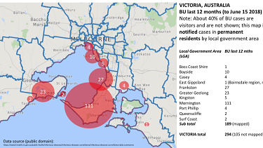 This map shows numbers of recent cases Victorian council area. The size of the circles is indicative of recent risk of infection in the locations shown.