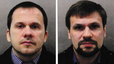 Alexander Petrov, left, and Ruslan Boshirov charged as the two Russians responsible for the Novichok poisonings in Britain. Boshirov's real identity has been revealed to be Colonel Anatoliy Vladimirovich Chepiga.