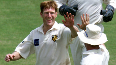 Mat Inness celebrates a wicket during his cricket days.