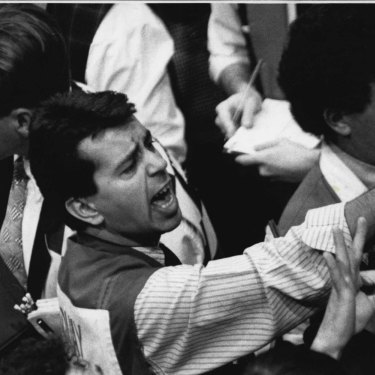 Traders at the Futures Exchange during a stock market crash in February 1994.
