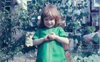 Jeni Haynes aged four at the family home in Bexleyheath, London, before the family moved to Australia.