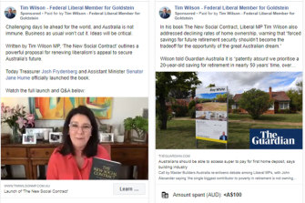 Victorian MP Tim Wilson used his Facebook page to launch his book and paid for ads promoting it.