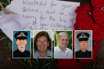 The police officers killed in the Eastern Freeway crash were (from left) Constable Josh Prestney, Leading Senior Constable Lynette Taylor, Senior Constable Kevin King and Constable Glen Humphris.