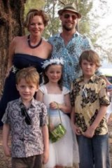 Mo, Evie and Otis Maslin (from left) with their parents, Rin Norris and Anthony Maslin.