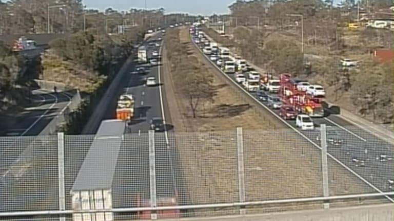 Northbound traffic was banked up for 17 kilometres on the M7 at 8.45am.