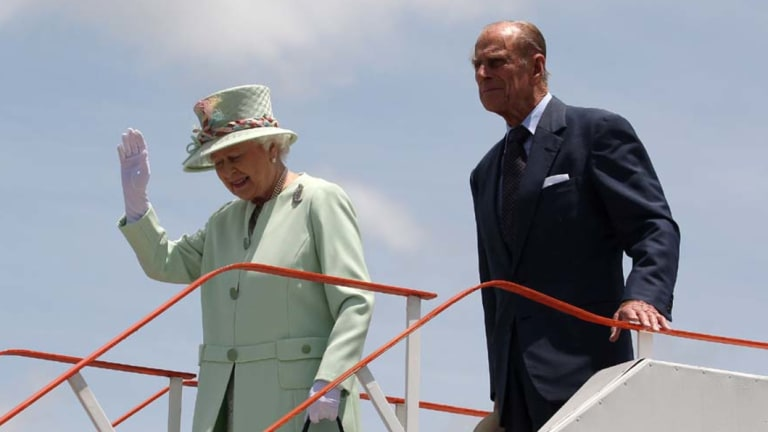 Queen Elizabeth II and Prince Phillip arrive at Brisbane Airport earlier this year.