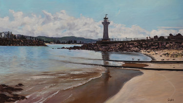 Cast Iron Lighthouse, Belmore Basin, 2019, oil, by Pamela Griffith in the exhibition Wollongong Then And Now Illawarra.