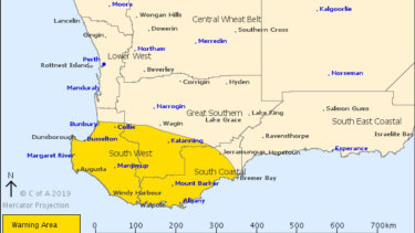 The severe weather warning area