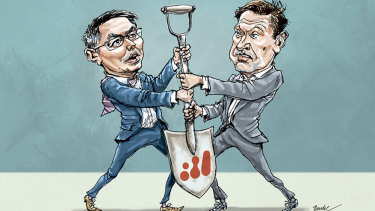 Spade work: Peter Beaven and Mike Henry are competing to be the next BHP CEO.