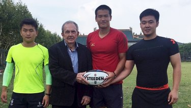New frontier: Paul Broughton with Chinese rugby league players in 2016.