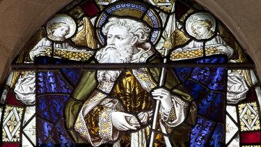 Original stained glass art of St Matthias.