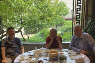 David Zhu, Eddie Zhi and Craig Newton at the Chang Fu Gong hotel in Beijing in October 2019.