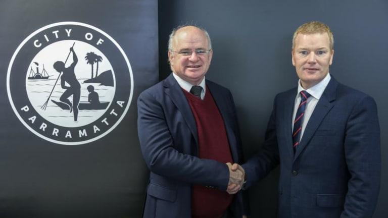 City of Parramatta mayor Andrew Wilson with CEO Mark Stapleton, right.