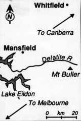 A map showing where the SE-5a fighter plane that went missing in the Victorian high country was found.