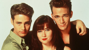 The way we were: Jason Priestley, Shannen Doherty and Luke Perry.