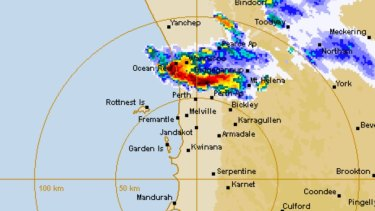 The Bureau of Meteorology's WA Perth radar February 25, 4.50pm.