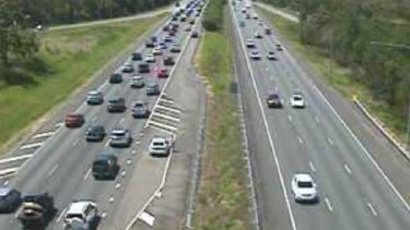 The view from a north-facing traffic camera on the Bruce Highway at Burpengary about 1.30pm on Monday.