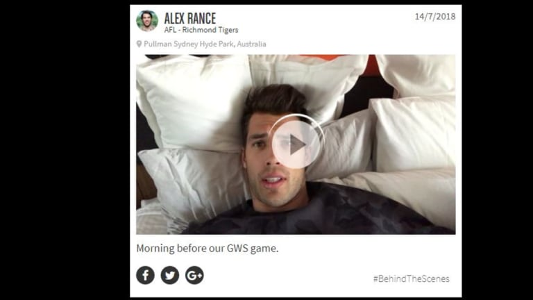 Richmond Tigers player Alex Rance in one of the videos he made for the 20Four app.