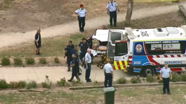 Tony Mokbel being stretchered out of Barwon Prison.