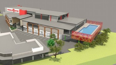 Perspective images for the Inala skate rink site as viewed from the corner of Serviceton Avenue and Sycamore Street.