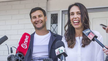 Exception to the rule ... New Zealand Prime Minister Jacinda Ardern and her partner, Clarke Gayford.