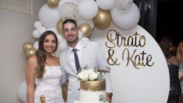 Strato Varipatis and his fiance Kate Kalergis at their engagement party earlier this year.