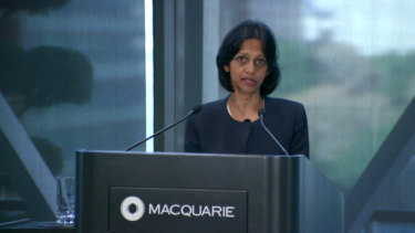 Macquarie Group chief executive Shemara Wikramanyake said the group's businesses had faced mixed conditions in the first quarter.