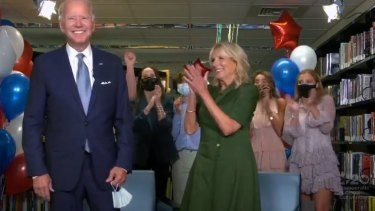 Joe Biden and wife Jill celebrate officially receiving the Democratic Party's nomination.