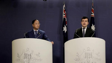 Huang Xiangmo and Sam Dastyari at the Chinese media press conference that would cost Dastyari his political career.