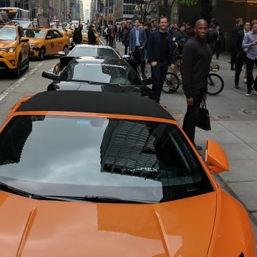 Images taken from Greg Dwyer's social media feeds of Lamborghinis lined up at a bitcoin conference in Manhattan.