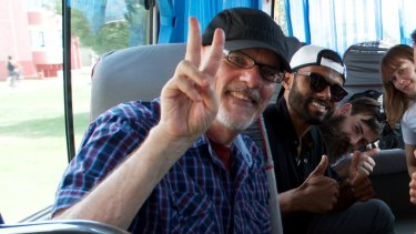 Sacked Sydney University lecturer Tim Anderson with PhD student Jay Tharappel during a trip to North Korea.
