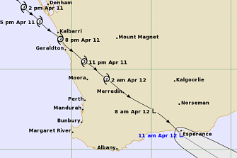 Ex-Tropical Cyclone Seroja crossed the south coast of Western Australia about 11am on Monday.