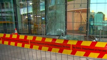 The car crashed into the entrance of Perth Children's Hospital on Wednesday night.