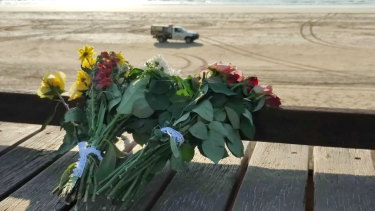 Flowers left at Cable Beach.