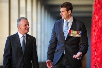 Former Australian War Memorial director Brendan Nelson and Ben Roberts-Smith at the Australian War Memorial.