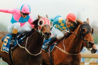 Mannerism (right) and Veandercross fight out the 1992 Caulfield Cup.