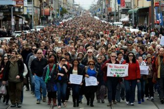 Tens of thousands of people marched along Sydney Road after the murder of Jill Meagher.