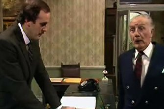 Basil (John Cleese) and the Major (Ballard Berkeley) in the exchange believed to be at the heart of the matter.